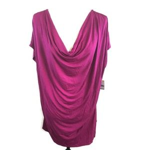 Simply Emma Knit Cowl Neck Ruched Top Pink